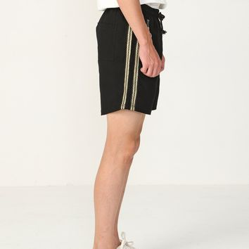 Embellished Gold Stripe Track Shorts
