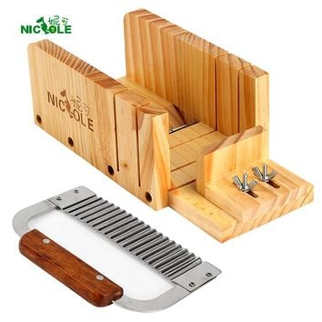 Nicole Adjustable Wood Loaf Cutter Box & Stainless Steel Wavy Cutting Tools Kit Set 2 Soap Making Supplies