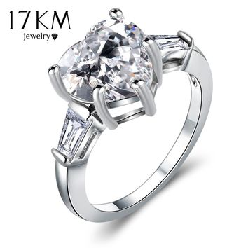 17KM Lover Big Cubic Zircon Heart Bridal Rings For Women 2017 Fashion Silver Color Party Austrian Crystal Wedding Ring Jewelry