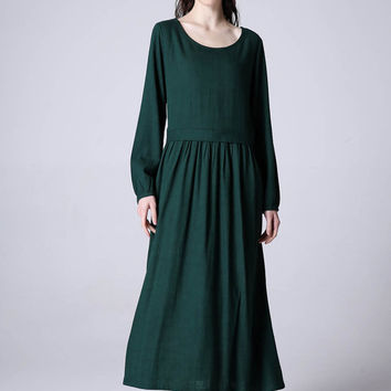Maxi dress green women linen dress (1173)