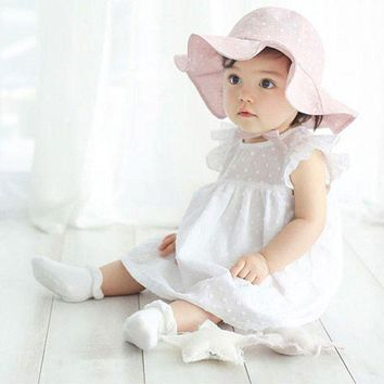 CUPUP9G Infant Toddler Visor Cotton Sun Cap Floral Print Summer Outdoor Baby Girls Pink White Beach Bucket Hats