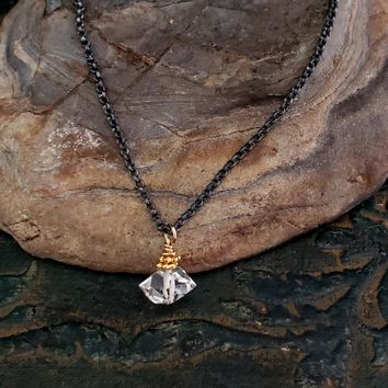 Single Herkimer Diamond Necklace Delicate, Sparkle, Dainty, Black Chain Stone Pendant, Oxidized Sterling Silver Chain, Solitaire
