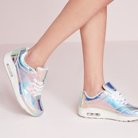 Missguided - Holographic Bubble Detail Trainers Silver