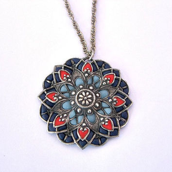 Old style necklace blue pendant handcrafted necklaces victorian style jewelry for her
