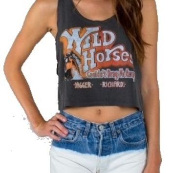 Wild Horses Rolling Stones cropped tank top with full lyrics printed on the inside of the shirt.