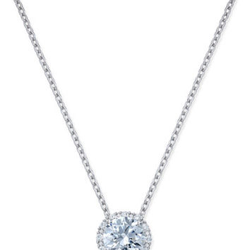 Arabella Swarovski Zirconia Halo Pendant Necklace in Sterling Silver - Necklaces - Jewelry & Watches - Macy's