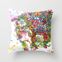 """""""She Wore Flowers in Her Hair"""" Throw Pillow by Holly Lynn Clark"""