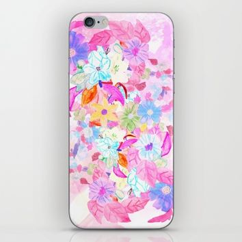 Girly pink teal watercolor original floral iPhone & iPod Skin by Pink Water | Society6