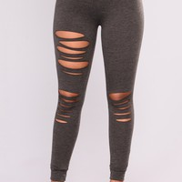 Distressed Terry Leggings - Charcoal