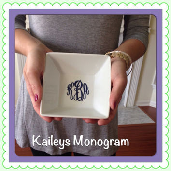Monogrammed Jewelry Box Trinket Holder Larger Size Personalized Vinyl Decal Necklace Sorority Preppy Name Ceramic Jewelry Box Jewelry Tray
