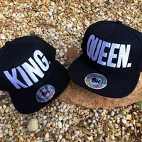 CLEARANCE Queen or King Flat Bill Hat  / Mr. or Mrs. / Bride  or Groom