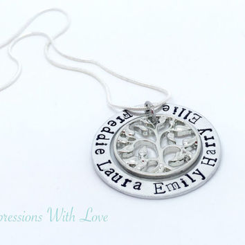 Hand stamped family tree washer personalised necklace mothers grandmothers pendant
