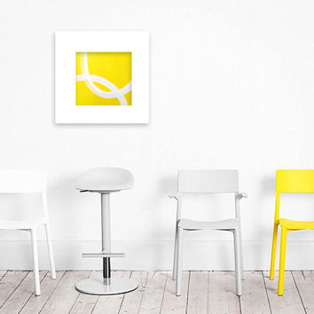 "Abstract Acrylic Painting Original Fine Art 7.5"" x 7.5"" by Linnea Heide - colorful fun whimsical - yellow smile happy - minimal"