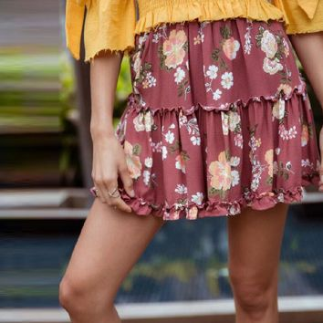 Rose Color Floral Print Elastic Mini Skirt