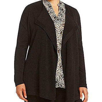 Vince Camuto Plus Open-Front Cardigan - Rich Black