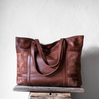 Leather Tote Bag in Chestnut Brown / Leather Tote / Shoulder Bag / Brown Leather Bag / Leather Bag /  Leather Shopper / Brown Tote