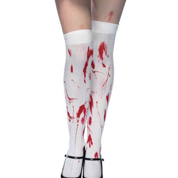 White Bloody Halloween Cosplay Zombie Thigh Highs