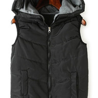 Solid Color Hooded Zipper Waistcoat