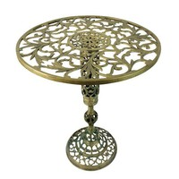 Vintage Hollywood Regency Brass Pedestal End Table