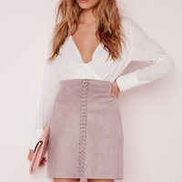 Missguided - Stitch Front Faux Suede Mini Skirt Lilac