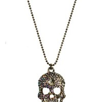 Large Gold Rhinestone Skull Necklace - Buy Online at Grindstore.com