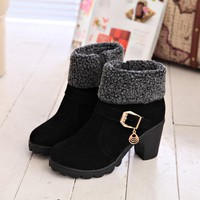 New 2018 Winter High Heel Boots Warm Plush Square Heels Winter Shoes Women's Boots Ladies Fashion Brand Ankle Snow Boots
