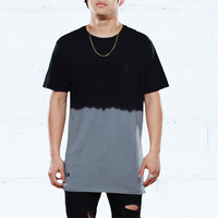 Keys Dip Dye Long Line T Shirt Grey