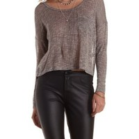 Taupe Combo Sweater Knit Long Sleeve Crop Top by Charlotte Russe