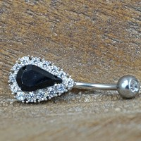 Teardrop Black Crystal Belly Button Ring