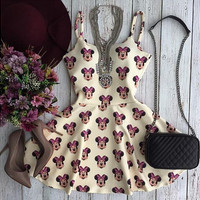 Round Neck Sling Sleeveless Print Dress