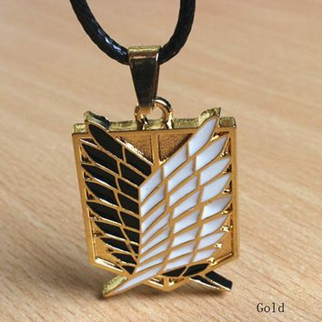 Metal Anime Attack Titan Animation Characters Fine Jewelry Cosplay Necklace Scouting Legion