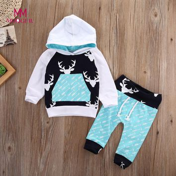Kids Clothes Newborn Infant Baby Boy Girl Deer Arrow Hoodie Tops+Pants Clothes Set Children Clothing Set Cotton Kids Outfits
