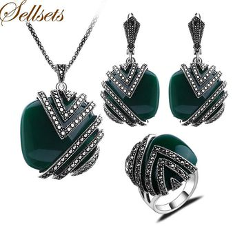 Sellsets High Quality Antique Silver Color Turkish Jewellery Fashion Square Green Resin Vintage Jewelry Sets