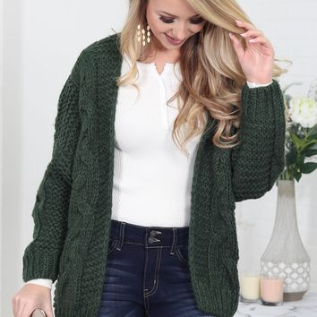 Loose Pine Green Knit Cardigan