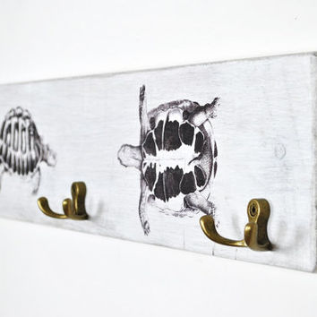Off white towel hanger | rustic distressed towel rack |  shabby chic towel hooks | vintage hook board bathroom | beach towels | turtle decor