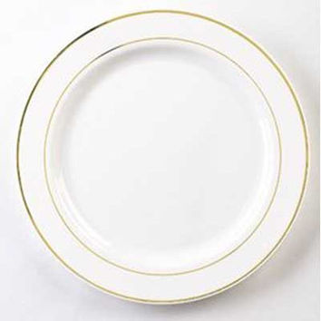 10 1/4 Inch Round Plastic Dinner Plates in White with Gold Band/Case of 120