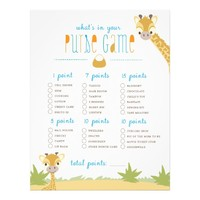 "Wild Giraffe What's in Your Purse? Game 8.5"" X 11"" Flyer"