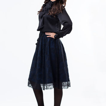 Lace skirt / Denim skirt / Long lace skirt