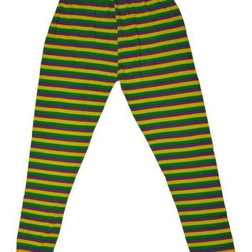 Mardi Gras Purple Green and Gold Striped Tights (Kids)