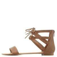 Cognac Lace-Up Caged Ankle Cuff Sandals by Charlotte Russe