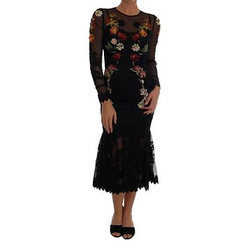 Dolce & Gabbana Black Floral AppliquÜ£Œ© A-Line Dress