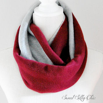 Burgundy and Grey Fleece Infinity Scarf, Maroon, Dark Red, Unisex, Fall Winter Scarf