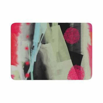 """Rosa Picnic """"Abs-3"""" Pink Teal Abstract Contemporary Painting Watercolor Memory Foam Bath Mat"""