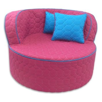 Fun Furnishing Throw Back Chair Hot Pink with Aqua Piping