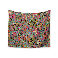 """Julia Grifol """"My Butterflies & Flowers in Brown"""" Rainbow Floral Wall Tapestry"""