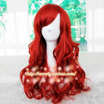 New The Little Mermaid Dark Red Wig Body Wave Wig Cosplay Princess Ariel Wig Role Play Costume Hair