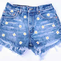 Vintage 90s Daisy Flower High Waisted Vintage Denim Short Cut-offs