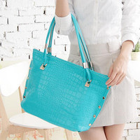 YESSTYLE: Miss Sweety- Croc-Grain Studded Tote (Blue Green - One Size) - Free International Shipping on orders over $150