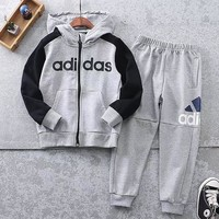 Adidas Girls Boys Children Baby Toddler Kids Child Fashion Casual Cardigan Jacket Coat Pullover Pants Trousers Set Two-Piece