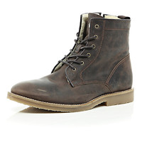 River Island MensBrown leather warm lined boots